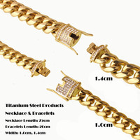 Wholesale 24k gold bracelets for women - Titanium 24K Solid Gold Electroplated Casting Clasp & Diamond CUBAN LINK Necklace & Bracelet For Men Women Curb Chains Jewelry Sets