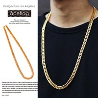 Wholesale Wholesale Women Cuban Link Chain - 18K Gold Gold Vacuum Plated Curved Long Necklace Hip Hop Jewelry New Trendy Rock Cuban Link Chain Necklaces For Women Men Gift