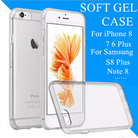 Wholesale Soft Silicone Tpu Gel Case - For iPhone 8 7 Samsung Note 8 S8 Plus Crystal Gel Case for iPhone 6s Plus Transparent Soft TPU Cases S7 Clear Cases