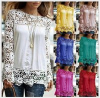Wholesale Camisa Fashion Women - 5XL large size Fashion Women Lace long Sleeve Chiffon Blouses Shirt Crochet blusa Tops blusas femininas camisa