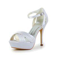 Wholesale Euro Style Wedding Dress - Elegant Wedding Dress Shoes Super High Heel 13cm Ivory color Handmade Delicated Style Women Bridal Wedding Shoes From Euro size 35-42