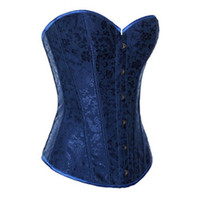 Wholesale Sexy Gothic Mix - Sexy Floral skirt Strapless Corset Sexy Bustiers Blue Floral Print Lady Body Shaper Corsets Gothic Shapewear S-5XL Sizes Mix sell