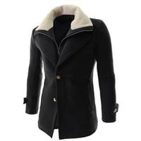 Wholesale Wool Single Breasted Coat Mens - Fall-2016 New Arrival Winter Mens Trench Coats Duffle Coat Stylish style Single Breasted Mens Coat Wool Trench Coat