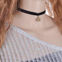 Wholesale Rivet Pendant Necklace - 2016 Vintage Bijoux Women Men Jewelry Cool Punk Goth Rivet Choker Necklace Leather Collares Round Metal Pendant Anime Necklaces
