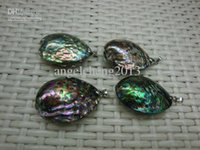 Wholesale Double Pearls Necklace - High quality fashion double side abalone Shell pendant copper with platinum plated 12pcs lot