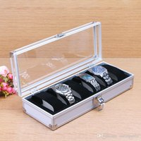 Wholesale Metal Case Aluminium Gift Box - 2015 new style 6 Grid Aluminum Slots Watches Display Storage Square Box Case Aluminium Fashion watches boxes Christmas gift 00627