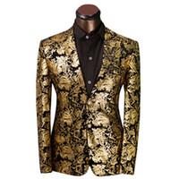 Wholesale Gold Suit Jackets For Men - Wholesale-2016 Brand Clothing Luxurious Gold Suits Mens Printing Blazer Casual Floral Jaqueta De Luxo Blazer Jackets For Men