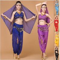 Wholesale Red Sequin Dance Top - 2016 Indian Belly Dance Costume Top&Pants&Waist Chain&Veil Conjuntos De Roupas Danca Do Ventre Belly Dancing Dress Danse Du Ventre