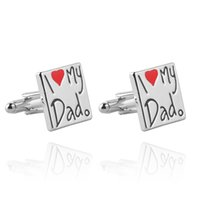 Wholesale cufflinks letters - 2018 cufflinks Father's Day gift i love dad love letter French cufflinks cuff for father of father's day zj-0903779