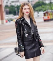 Wholesale Ladies Sexy Leather Jacket - New Fashion Emboridery Wedding Accessories Sexy Black Leather Jacket For Young Lady 2017 Fall Long Sleeves Coat Casual Wear