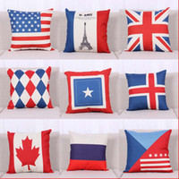 Wholesale Union Jack Flag Pillow Case - Old Glory Union Jack National Flag Pillow Case cotton linen Square Cushion Cover Pillowcases Cushions Home Textiles Throw Pillow case 240278