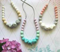 Wholesale Mum Necklaces - Silicone Teething Necklace Mum Beads Silicone Pendant Teething Baby Teether Necklace Safe Silicone Nursing Necklace Chewable Jewelry