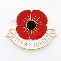 Wholesale Uk Brooch - High Quality Blood Red Enamel Poppy Brooch Gold Tone Alloy The British Legion Poppy Brooch Pins For UK Remembrance Day Lest We Forget Poppy
