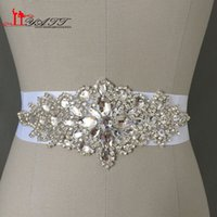 Wholesale Cheapest Women Formals - Cheap In stock Bridal Sashes Belts 2016 Free Size Crystal Shinny Elegant Women Belts Ivory White Free Shipping
