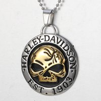 Wholesale Silver Jewelry Skulls - wholesale Skull Titanium Steel Harley Davidson Pendant Necklace Punk Style Fashion Trendsetter Jewelry