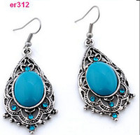 Wholesale Red Tibetan Earrings - 2016 Women's Fashion Party Accessories Tibetan Silver Big Statement Dangle Earrings Ball Acrylic Vintage Brincos Pequenos