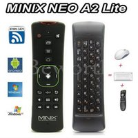 neo minix android al por mayor-MINIX NEO A2 Lite 2.4 GHz Teclado inalámbrico para juegos Fly Air Mouse Giroscopio de 6 ejes Smart Television Remote Control USB 2.0 para Android TV Box