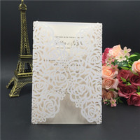 Wholesale Free Printable Wedding Envelopes - 2016 Printable Laser Cut Ivory Wedding Invitation Thanksgiving Card with Embossed Flower with Envelope & Seal Free Shipping