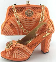 Wholesale Orange Wedding Evening Bags - Cherry Lady orange Italian Shoes With Matching Bag High Quality For Occasion Italy Shoes And Bag For Evening Free Shipping