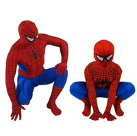 Wholesale Adult Black Spider Costume - Spider Man Spiderman Mascot Costume Fancy Dress Adult And Children Halloween Costume Red with Blue