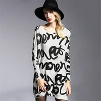 Wholesale Office Works Computers - Wholesale- Woman Sweater New Fashion Casual Spring Autumn Women letters printed Big yards loose wild Work Office Pullover Knitted Sweaters