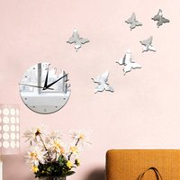 Wholesale Bird Butterfly Wall Decor - 2016 Rushed Diy 3d Oval Butterfly Birds Mirrors Wall Stickers Clock Mirror Decoration For Home Vinyl Art Decals Living Room Bedroom Decor