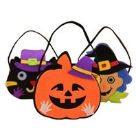 Wholesale Tree Decorations Pouches - Halloween Pumpkin Candy Bag Trick Treat Cute Smile Basket Face Children Gift Handhold Pouch Tote Bag Non-woven Pail Props Decoration Toy