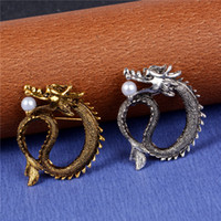 Wholesale Dragon Lapel Pin - Wholesale- SHUANGR Women's Men's Business Casual Brooches For Men Jewelry Silver Gold Color Vintage Dragon Lapel Men Brooch Pin Broches