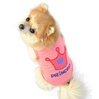 Wholesale Cheap Pink Winter Dog Coats - Accept custom LOGO Dog Pet Clothes & Summer Pink Princess Crown Vest Sleeveless T-Shirts Apparel dog clothes cheap Smile