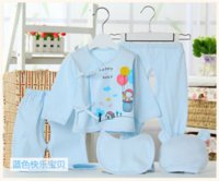 Wholesale Girls Jump Suits - 2016 cartoon newborn new born rompers jumps cotton baby babysuits brand boys and girls suits set 5 pieces clothing clothes