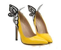 Wholesale Butterfly Prom Shoes - Latest European hot sale butterfly wings pointed Toe high heel Sexy Classic Pumps Women Celebrity Butterfly high Heels Prom shoes 2 color