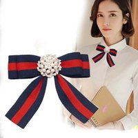 Wholesale Indian Fabric Wedding Dress - Striped Fabric Bow Brooches for Women Necktie Style Brooch Pin Wedding Dress Shirt Pearl Diamond Brooch Pin Handmade Accessories