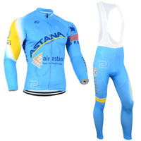 Wholesale Cycling Sleeves Winter Wear - Blue Color Air Astana Winter Cycling Clothing Long Sleeve Thermal Fleece Cycling Jersey Men Outdoor Bike Sport Winter Cycling Wear Bib Pants