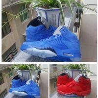 ingrosso vestito blu di halloween-5s Uomo Raging Bull Red Suede V 5 Scarpe da pallacanestro da donna Suit da viaggio Università rosso / nero Blue Sneaker taglia 36-47