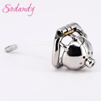 """Wholesale Small Metal Chastity Cages - SODANDY 1.3"""" Super Small Male Chastity Cage Metal Penis Locked In Chastity Belt Device Men Cock Cage Urethral Stretcher Dilator Catheter"""