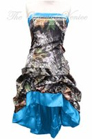 Wholesale Satin Brides Maid Dresses - Vintage Blue Realtree Camouflage Bridesmaid Dresses High Low Camo Wedding Party Gowns Summer Style Tea Length Bride Maid of Honor Dress
