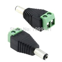 Wholesale Dc Power Jack Cctv - 5pcs 2.1mm DC Power Male Jack Plug Adapter Connector for cctv camera led strip light led connector