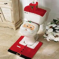 Wholesale Fancy Bathroom Sets - 1set Christmas Xmas Decorations Fancy Santa Toilet Seat Cover and Rug Bathroom Set