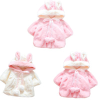 Wholesale Hooded Warm Poncho - Girl Blazer Jackets Kids Bunny Ear Coats Outerwear Hooded With Pompom Soft Keep Warm Kid Clothing Childrens Toddler Jacket
