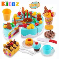 Wholesale Pretend Kitchen Food - Kitoz 75pcs Happy Cutting Mini Cake Sweet Toy Miniature Food for Doll Pretend Play Plastic Kitchen Toy Birthday Gift for Girl Kids