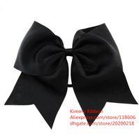 Wholesale Blue Cheer Bows - 50pcs NEW BLACK Cheer Bow Pony Tail 8 Inch Ribbon Girls Hair Bow