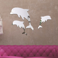 Wholesale green living tv - 3D stereoscopic bedroom sofa TV background removable wall stickers Mirror stickers dolphin new 2016 European and American fashion