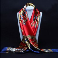 Wholesale Big Silk Scarves - 90cm*90cm 2016 Big Size Silk Square Scarf Women Fashion Brand High Quality Imitated Silk Satin Scarves Polyester Shawl Hijab Brand Design