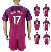 Wholesale r 17 - 17-18 Away Custom De bruyne 17 Soccer Sets With Shorts,Customized Kun Agüero 10 Sterling 7 Sané 19 G.Jesus 33 6 FERNANDO R Soccer Uniforms