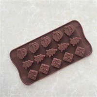 Wholesale Santa Claus Molds - Santa Claus Christmas Tree Shaped Cake Mold Silicone Chocolate Molds Party Ice Cube Tray Home Handmade Soap Moulds