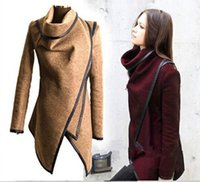 Wholesale Cashmere Short Coats For Women - Fall Winter Clothes for Women 2016 New European and American Wool & Blends Coats Ladies Trim Personality Asymmetric Rules Short Jacket Coats
