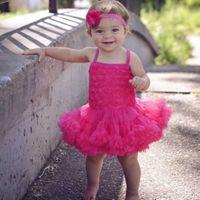 Wholesale Tulle Rosettes Wholesale - Wholesale- Little Girls Lace Dress, Flower Girl Tulle Dress, Baby Girls Birthday Dress Rosette Ballerina Petti Dress