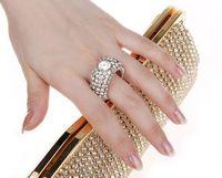 Wholesale Ring Rhinestone Clutch - NEW Rhinestones women clutch bags diamonds finger ring evening bags crystal wedding bridal handbags purse bags holder