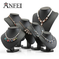 ANFEI Black Volor Mannequin Shape PU Jóias de couro Display Stand para Counter Showcase Necklace / Pendant Bust Displays Holder