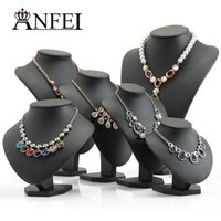 Wholesale mannequin jewelry holders - ANFEI Black Volor Mannequin Shape PU Leather Jewelry Display Stand For Counter Showcase Necklace Pendant Bust Displays Holder